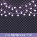 El sistema de traslapo, secuencia que brilla intensamente se enciende en un fondo transparente Ilustración del vector