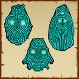 El sistema de tres figuras talló de la piedra, vector Imágenes de archivo libres de regalías