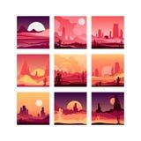 El sistema de Vectoe de tarjetas con el desierto occidental ajardina con las siluetas de montañas rocosas, de las plantas del cac stock de ilustración