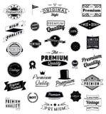 El sistema de vintage diseñó iconos y banderas del diseño. ilustración del vector