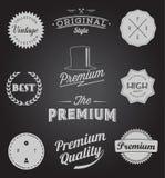 El sistema de vintage diseñó iconos y banderas del diseño stock de ilustración