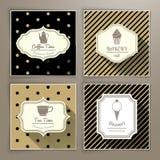 El sistema de vintage etiqueta té y el postre de la panadería del café Foto de archivo libre de regalías