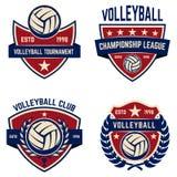 El sistema de voleibol defiende emblemas de la liga Imagenes de archivo