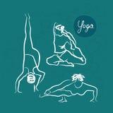 El sistema de yoga plantea el fondo azul libre illustration