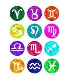 El sistema de zodiaco caligráfico firma, los símbolos del horóscopo Estilo poligonal Imagen de archivo libre de regalías