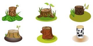 El sistema del árbol del tocón varía para la decoración de la historieta ilustración del vector