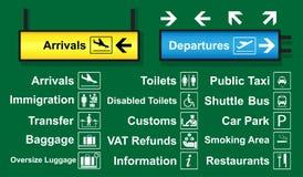 El sistema del aeropuerto firma con el logotipo y la dirección que es de uso frecuente alrededor del terminal de aeropuerto ilustración del vector