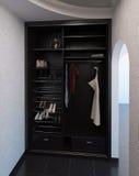 El sistema del armario del diseño interior de Pasillo, 3D rinde Fotos de archivo