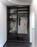 El sistema del armario del diseño interior de Pasillo, 3D rinde Foto de archivo libre de regalías