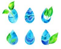 El sistema del azul de la acuarela salpica y cae Puntos azules de la acuarela stock de ilustración