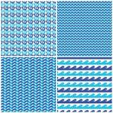 El sistema del azul del vector agita modelos inconsútiles stock de ilustración