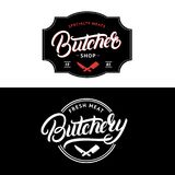 El sistema del carnicero Shop y la carnicería dan escrito la letra del logotipo, etiqueta, insignia, emblema Imagenes de archivo