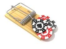 El sistema del casino de juego salta, como cebo, en ratonera de madera Fotografía de archivo