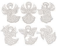 El sistema del contorno con los ángeles y las estrellas, contorno del vitral figura en un fondo blanco libre illustration