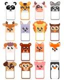 El sistema del cuadro de texto con los animales va a niños Plantilla del parque zoológico ilustración del vector