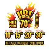 El sistema del descuento ardiente el 10% de las etiquetas del precio caliente el 15% el 20% el 30% Imagen de archivo libre de regalías