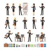 El sistema del diseño de caracteres de hombres de negocios del hombre y mujer, los oficinistas o los directores, profesional comb libre illustration
