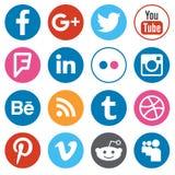 El sistema del diseño plano abotona con la red social más popular stock de ilustración