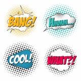 El sistema del efecto sonoro del cómic, discurso burbujea en estilo del arte pop Qué, explosión, hmm, fresca libre illustration