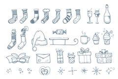 El sistema del ejemplo del vector de la mano ahoga los elementos para la Navidad Foto de archivo libre de regalías