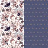 El sistema del estampado de flores inconsútil horizontal dos con Paisley y fantasía florece la frontera Textura dibujada mano par libre illustration