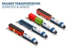 El sistema del ferrocarril entrena a consistir en las locomotoras, plataformas para el transporte Imágenes de archivo libres de regalías