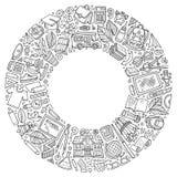 El sistema del garabato de la historieta de la escuela se opone, los símbolos y los artículos Imagen de archivo libre de regalías