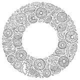 El sistema del garabato de la historieta de los anillos de espuma se opone, los símbolos y los artículos Fotos de archivo