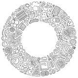 El sistema del garabato de la historieta de la pizza se opone, los símbolos y los artículos Fotos de archivo libres de regalías