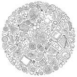 El sistema del garabato de la historieta de la pizza se opone, los símbolos y los artículos Fotos de archivo