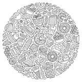 El sistema del garabato dulce de la historieta de la comida se opone, los símbolos y los artículos Foto de archivo