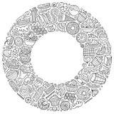 El sistema del garabato dulce de la historieta de la comida se opone, los símbolos y los artículos Fotos de archivo