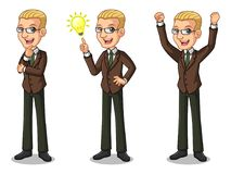 El sistema del hombre de negocios rubio en el traje marrón que consigue ideas gesticula libre illustration