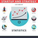 El sistema del icono del negocio del web del inicio y de la estrategia para las finanzas de la gestión del ui de los sitios web c Foto de archivo libre de regalías