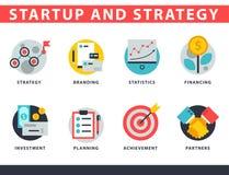 El sistema del icono del negocio del web del inicio y de la estrategia para las finanzas de la gestión del ui de los sitios web c stock de ilustración