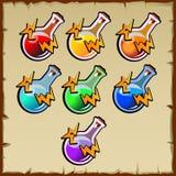 El sistema del juego coloreó el bulbo, siete artículos Fotografía de archivo libre de regalías