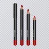 El sistema del labio realista dibujó a lápiz en el fondo transparente, trazadores de líneas del labio del color rojo brillante, e ilustración del vector