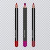 El sistema del labio realista dibujó a lápiz en el fondo transparente, trazadores de líneas del labio de diversos colores brillan ilustración del vector