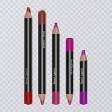El sistema del labio realista dibujó a lápiz en el fondo transparente, trazadores de líneas del labio de diversos colores brillan libre illustration