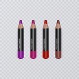 El sistema del labio realista dibujó a lápiz en el fondo transparente, trazadores de líneas del labio de diversos colores brillan stock de ilustración