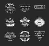 El sistema del logotipo de la peluquería de caballeros del vintage y del salón del balneario de la belleza badges libre illustration