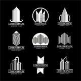 El sistema del logotipo de las propiedades inmobiliarias diseña, construyendo diseño del logotipo