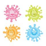 El sistema del logotipo del vector, etiqueta del yogurt congelado en leche multicolora salpica Imagen de archivo