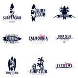 El sistema del logotipo que practica surf y los emblemas para la resaca aporrean o hacen compras Ilustración del vector Foto de archivo libre de regalías