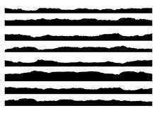 El sistema del movimiento de la tinta del grunge alinea el ejemplo aislado fondo dibujado mano del vector del modelo de los borde ilustración del vector