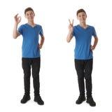 El sistema del muchacho lindo del adolescente sobre blanco aisló el fondo Imagenes de archivo