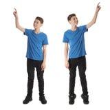 El sistema del muchacho lindo del adolescente sobre blanco aisló el fondo Fotografía de archivo