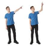 El sistema del muchacho lindo del adolescente sobre blanco aisló el fondo Foto de archivo