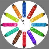 El sistema del ` multicolor s del Año Nuevo registra con las letras de la enhorabuena Foto de archivo