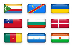El sistema del mundo señala los botones los Comoro del rectángulo por medio de una bandera Democratic Republic Of The Congo ucran libre illustration